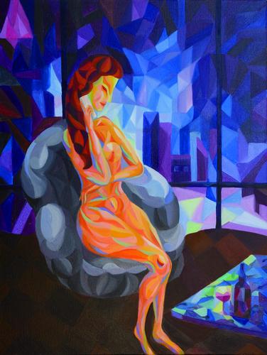 《夜》布面油画60x80cm 2014