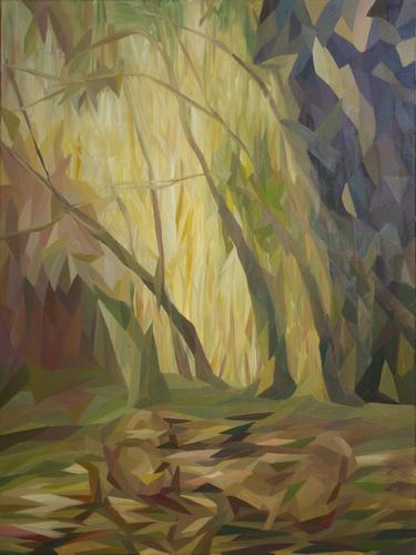 《鸟翅掠过的树林》布面油画120x90cm 2014